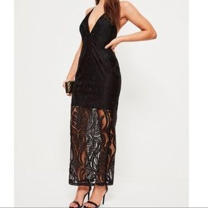 Missguided Lace Strappy Plunge Maxi Dress